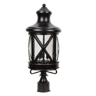 Taysom 3-Light Outdoor Black Post Light