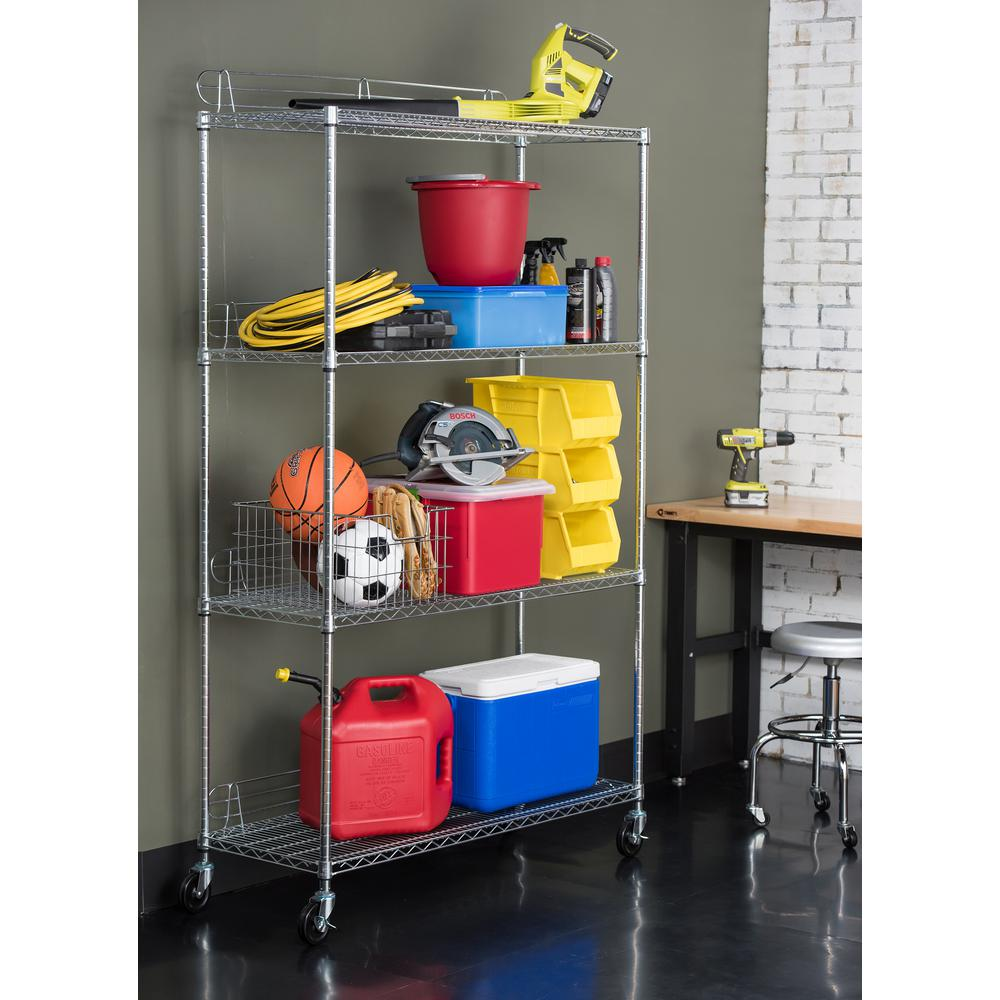 Trinity EcoStorage 48 in. x 18 in. x 77 in. 4-Tier Shelving Rack with Wheels in Chrome