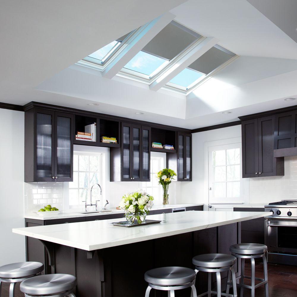 VELUX Solar Powered Room Darkening White Skylight Blinds for FCM 2246, on