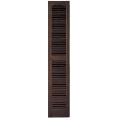 12 in. x 64 in. Louvered Vinyl Exterior Shutters Pair in #009 Federal Brown