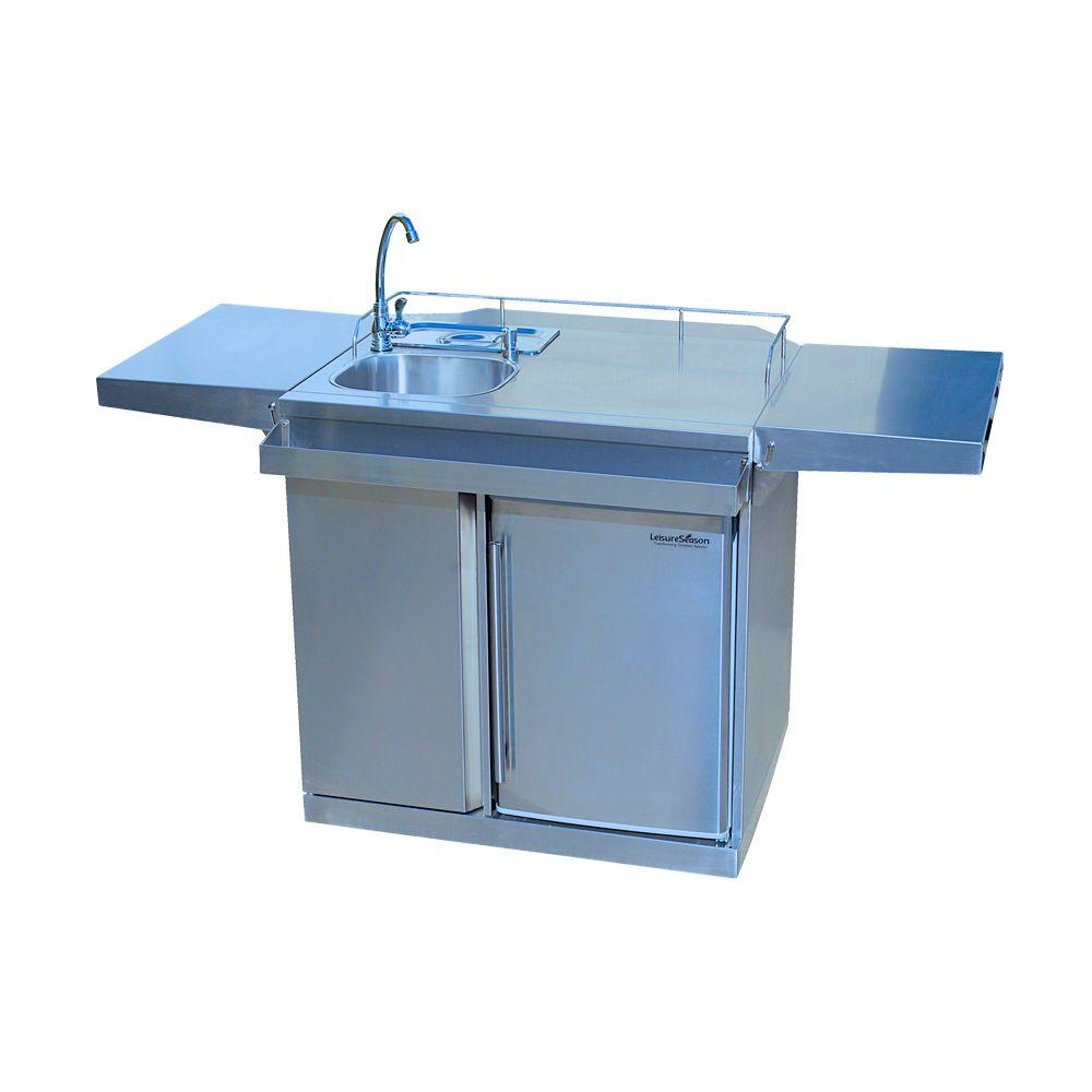 Exceptionnel Stainless Steel Outdoor Kitchen Cart And Beverage Center With Fridge And  Sink