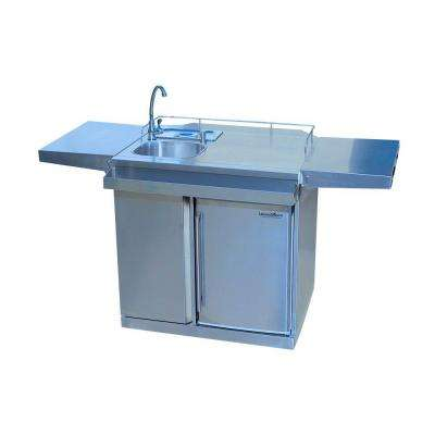 62 in. Stainless Steel Outdoor Kitchen Cart and Beverage Center with Fridge and Sink