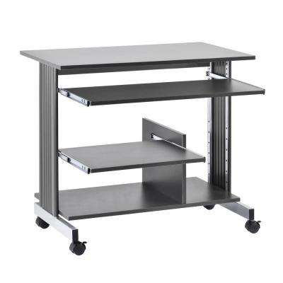 31 in. H x 36 in. W x 22 in. D Euroflex Mini Tower Computer Desk in Charcoal and Silver