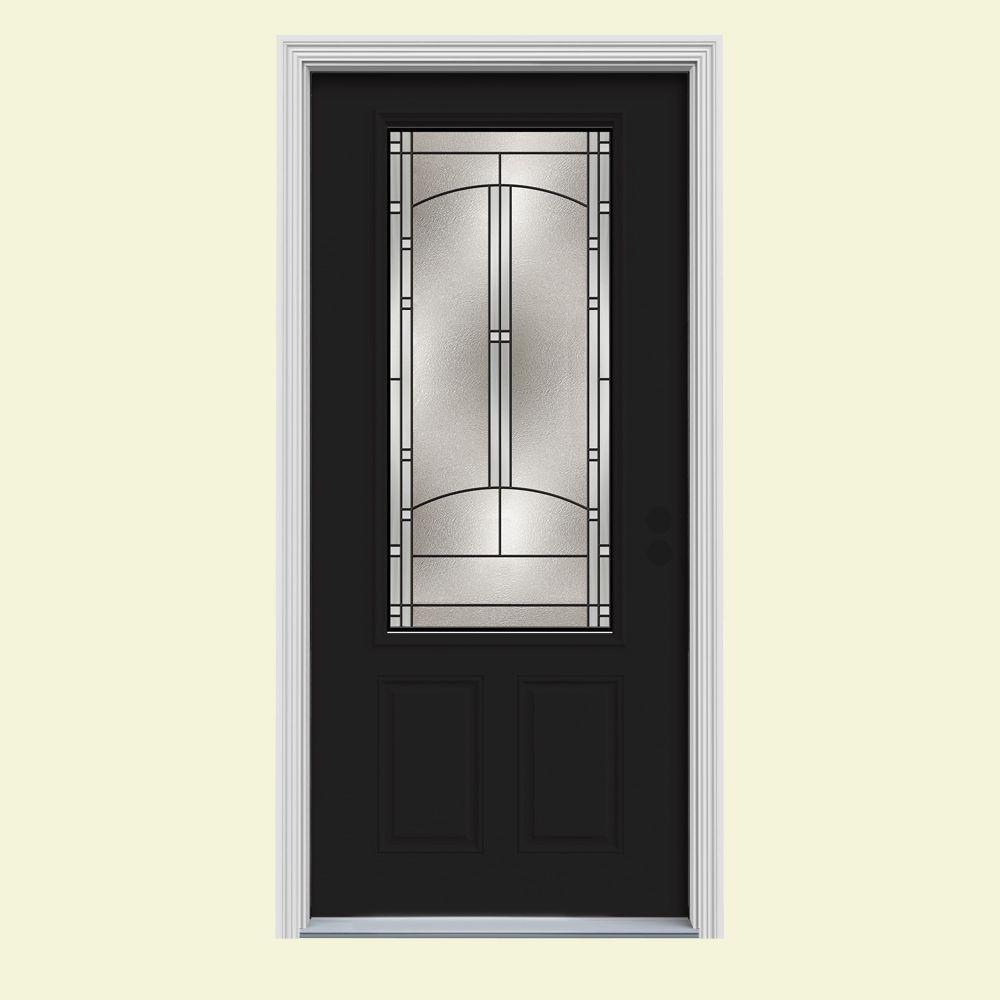 JELD-WEN 34 in. x 80 in. 3/4 Lite Idlewild Black Painted Steel Prehung Left-Hand Inswing Front Door w/Brickmould