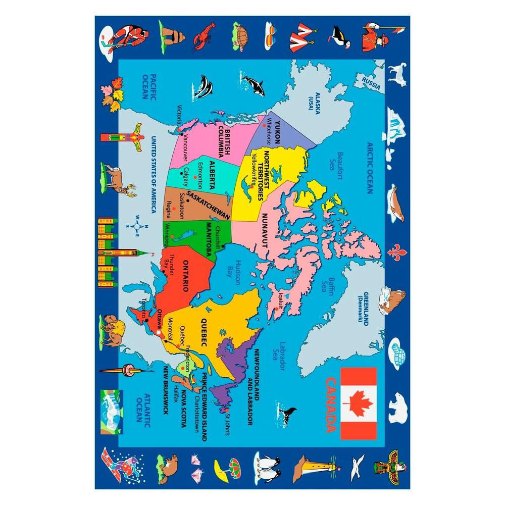 LA Rug Inc. Fun Time Map of Canada Multi Colored 5 ft. 3 in. x 7 ft. 6 in. Area Rug-DISCONTINUED