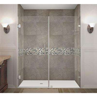 Nautis GS 69 in. x 72 in. Completely Frameless Hinged Shower Door with Glass Shelves in Chrome