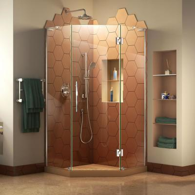 Prism Plus 36 in. D x 36 in. W x 72 in. H Semi-Frameless Neo-Angle Hinged Shower Enclosure in Chrome Hardware