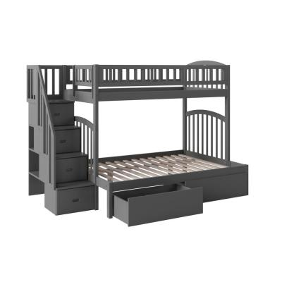 Westbrook Grey Twin Over Full Staircase Bunk with 2-Urban Bed Drawers