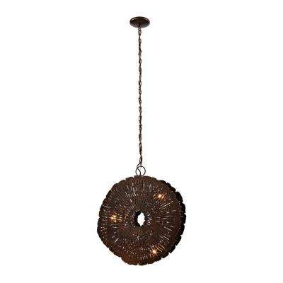 3-Light Oil Rubbed Gold Organic Metal Etched Disk Chandelier