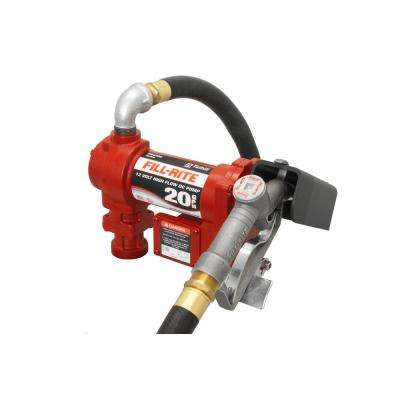 12-Volt 15 GPM 1/4 HP Fuel Transfer Pump with Standard Accessories (Manual Nozzle)