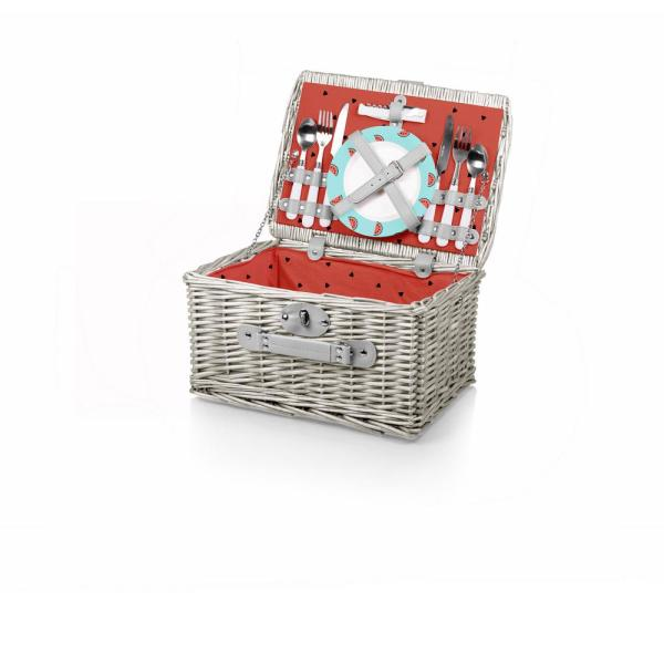 Picnic Time Watermelon Collection Red Catalina Willow Wood Picnic Basket