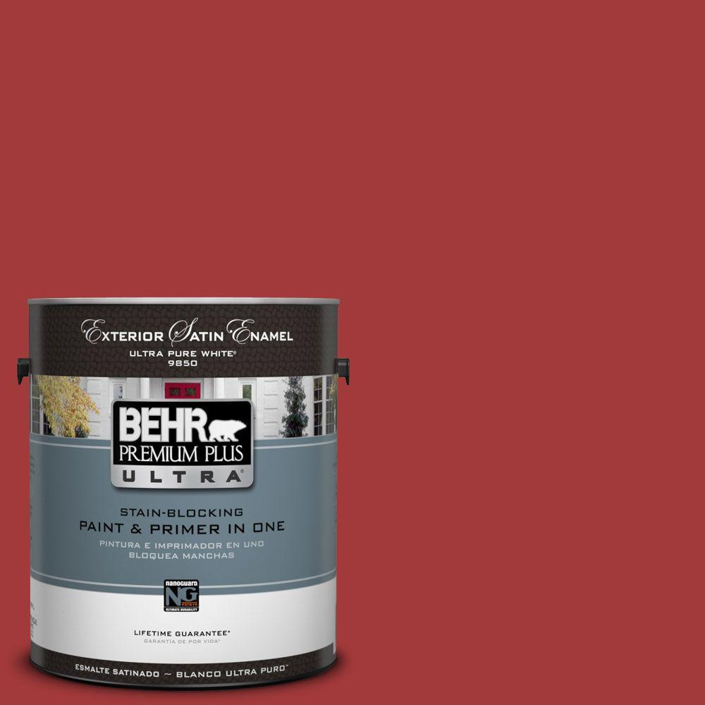 BEHR Premium Plus Ultra 1-Gal. #UL110-16 Bijou Red Satin Enamel Exterior Paint