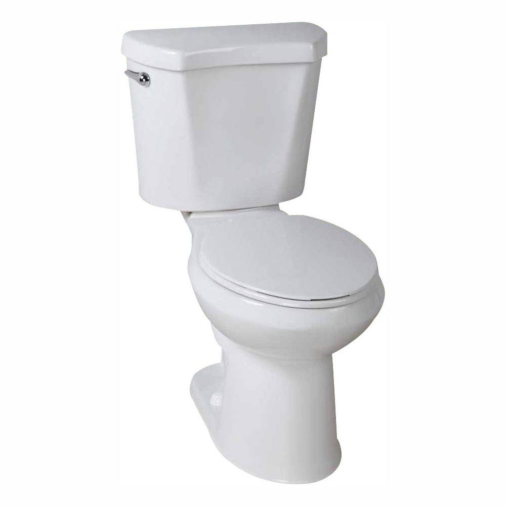 Glacier Bay 2-piece 1.28 GPF High Efficiency Single Flush Round Toilet in White, Seat Included (3-Pack)