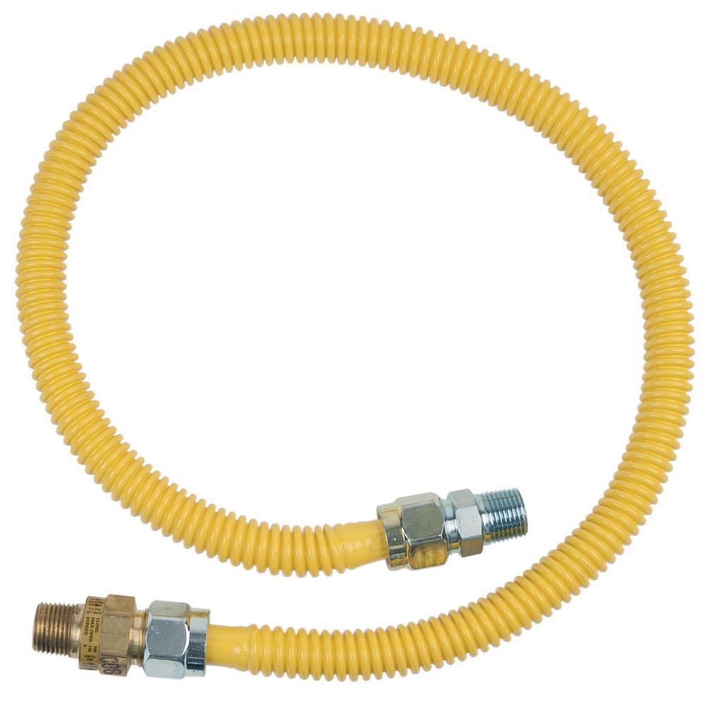 BrassCraft 1/2 in. MIP x 1/2 in. MIP x 36 in. Gas Connector (1/2 in. OD) w/Safety+Plus2 Thermal Excess Flow Valve (71,100 BTU)