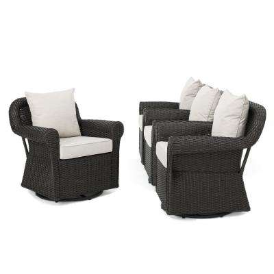 Yamileth Swivel Rocking Wicker Outdoor Lounge Chair with Beige Cushions (4-Pack)