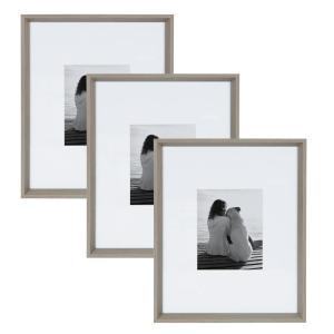 Calter 16 in. x 20 in. Matted to 8 in. x 10 in. Gray Picture Frame (Set of 3)