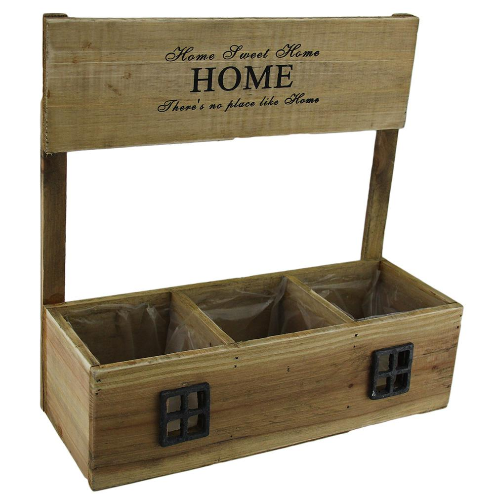 Home Sweet Home Decorative 3 Compartment Pre-Lined Wooden Planter Box