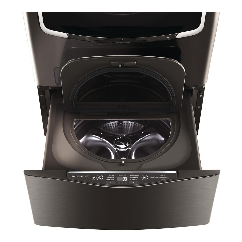 LG SIGNATURE 29 in. 1.0 cu. ft. SideKick Pedestal Washer with TWINWash  System Compatibility in Black Stainless Steel