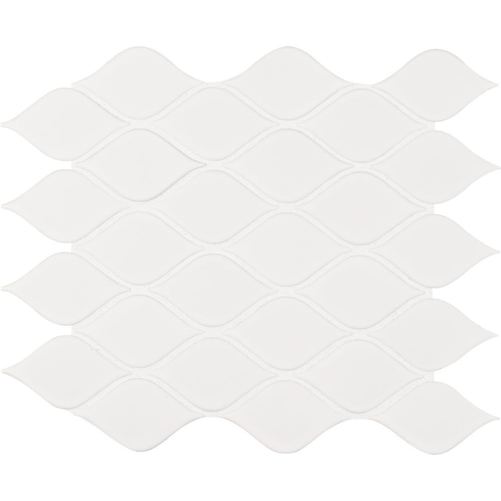- MSI White Glossy Tear Drop 10.62 In. X 11.10 In. X 6mm Porcelain