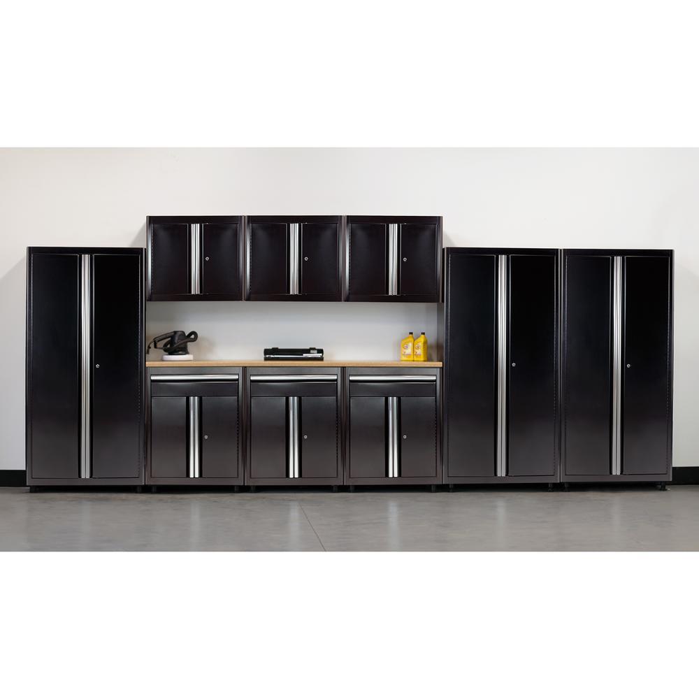 75 in. H x 198 in. W x 18 in. D Welded Steel Garage Cabinet Set in Black (10-Piece)
