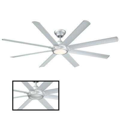 Hydra 80 in. LED Indoor/Outdoor Titanium Silver 8-Blade Smart Ceiling Fan with 2700K Light Kit and Wall Control