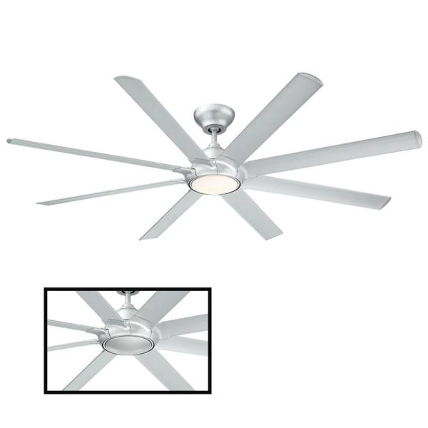 Hydra 80 in. LED Indoor/Outdoor Titanium Silver 8-Blade Smart Ceiling Fan with 3000K Light Kit and Wall Control