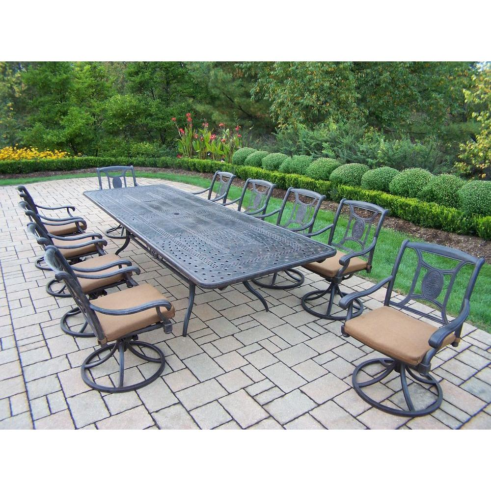 Oakland Living Extendable Cast Aluminum 11 Piece Rectangular Patio Dining  Set With Sunbrella Cushions