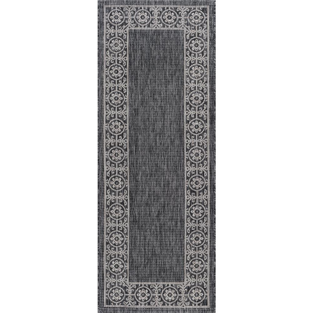 Tayse Rugs Veranda Black 3 Ft X 7 Ft Indoor Outdoor