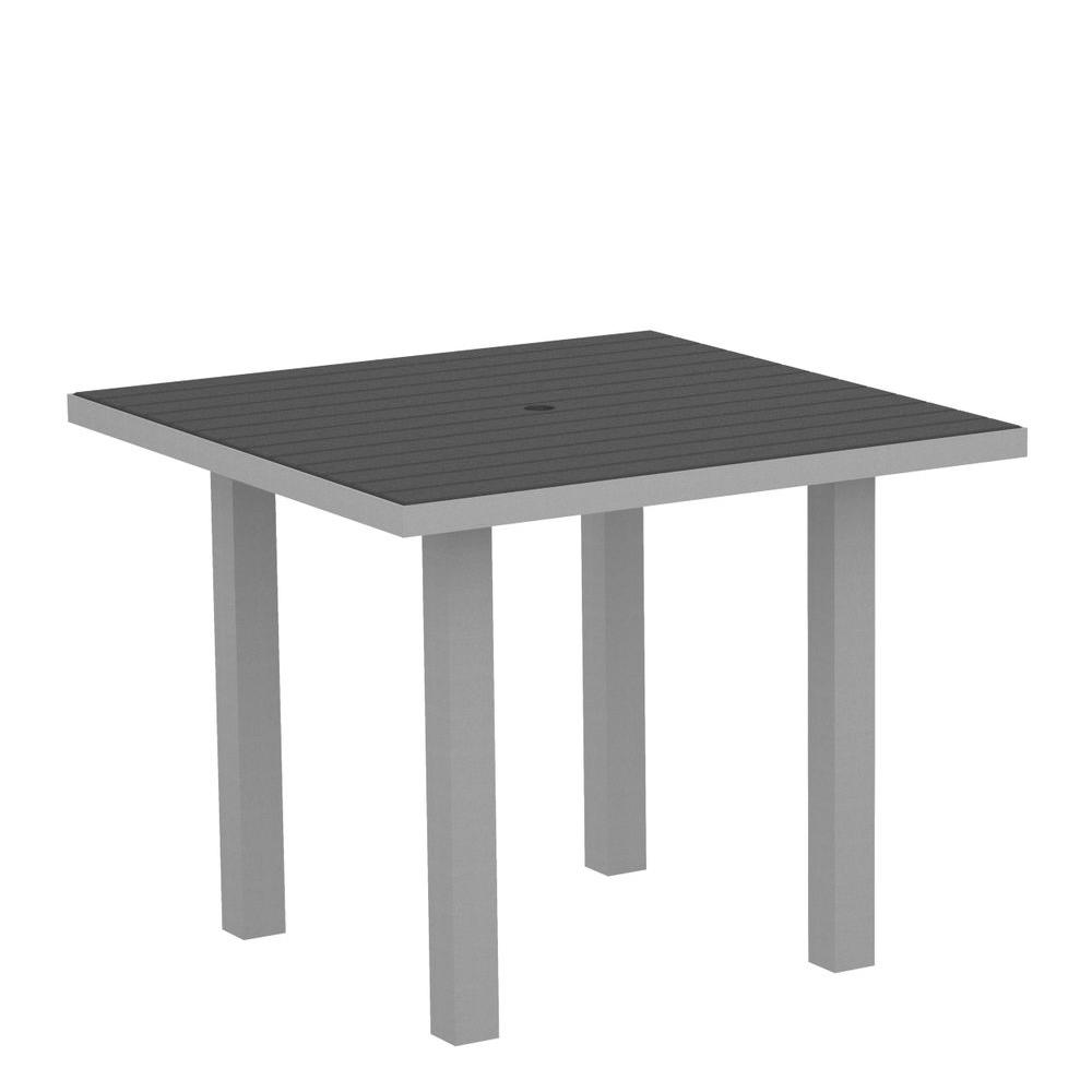 Euro Textured 36 in. Silver Square Patio Dining Table with Slate