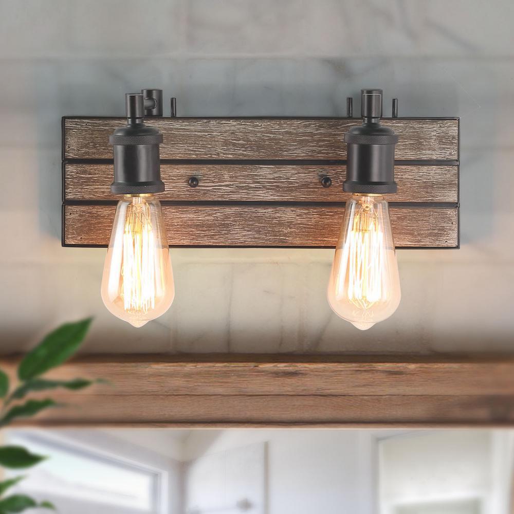Wayner 2-Light Black Modern Farmhouse Bathroom Wood Vanity Light Water Pipe Wall Sconce