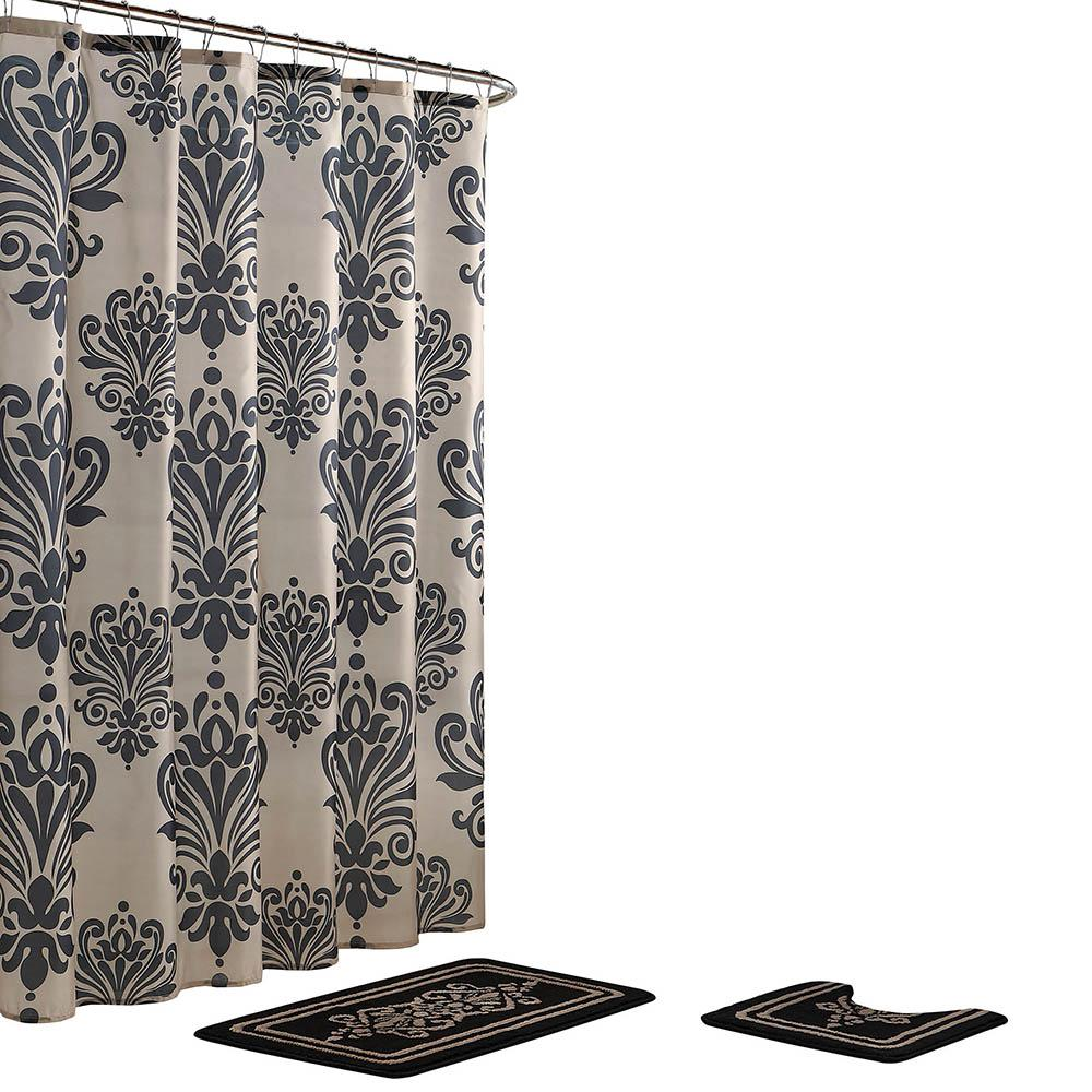 Bath Fusion Reverly Damask 18 in. x 30 in. Bath Rug and 72 in. x 72 in. Shower Curtain 15-Piece Set in Black/Linen