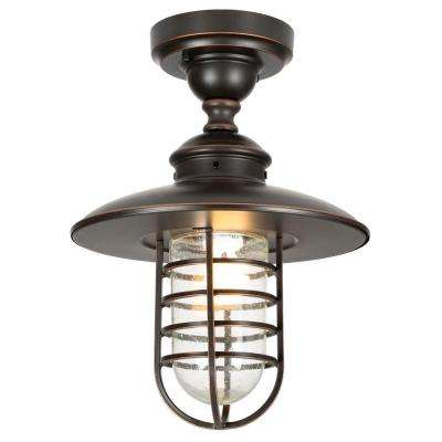 Dual-Purpose 1-Light Outdoor Hanging Oil-Rubbed Bronze Pendant or Flushmount Lantern