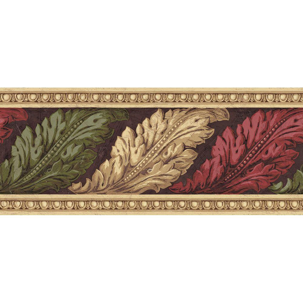 The Wallpaper Company 8.72 in. x 15 ft. Earth Tone Architectural Leaves Border