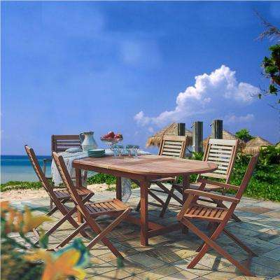 Milano 7-Piece Extendable Eucalyptus Wood Patio Dining Set