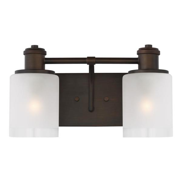 Norwood 14.125 in. 2-Light Burnt Sienna Vanity Light with Clear Highlighted Satin Etched Glass Shades