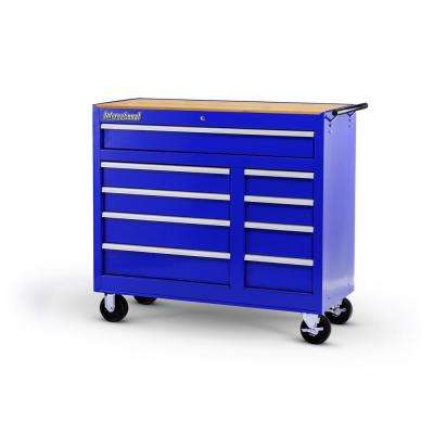 Workshop Series 42 in. 9-Drawer Cabinet with Wood Top, Blue