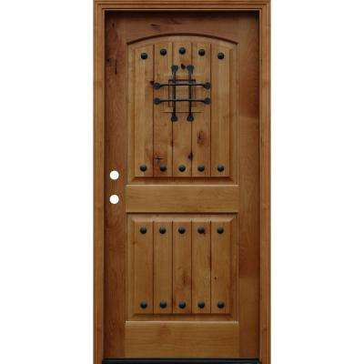Rustic Arched 2-Panel V-Groove Stained Knotty Alder Wood Prehung Front Door