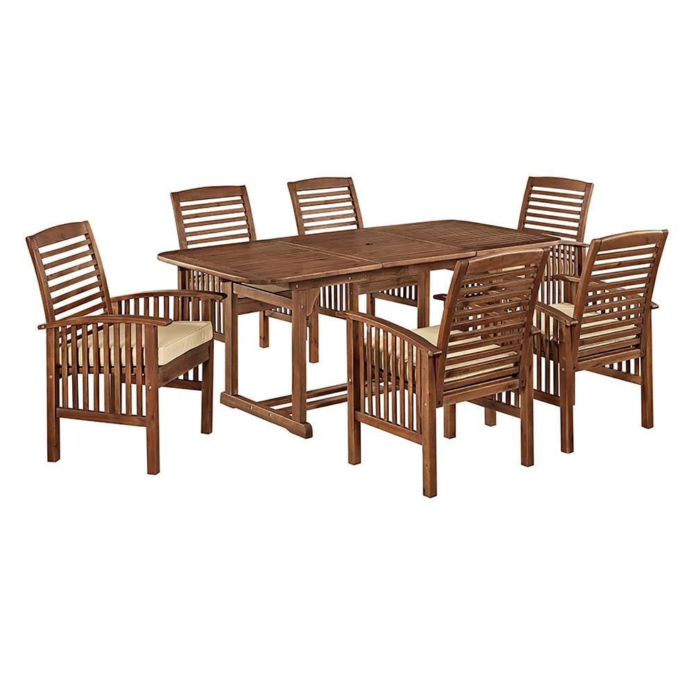 Walker Edison Furniture Company Boardwalk 7 Piece Dark Brown Acacia Outdoor Dining Set With Cushions