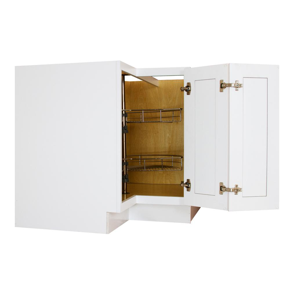 Lakewood Cabinets Shaker Ready to Assemble 36x34.5x36 in. Plywood Lazy Susan Corner Base Cabinet with Soft Close Bi-Fold Door in White
