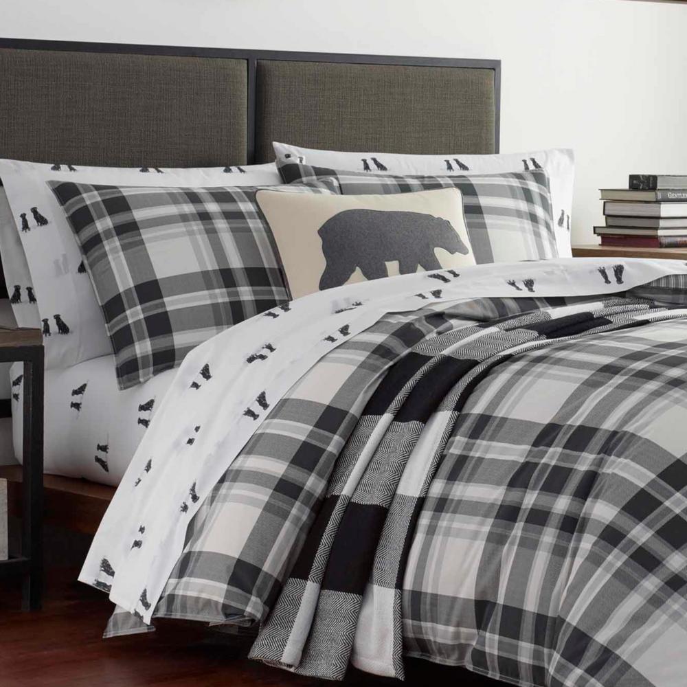 Coal Creek White Plaid Cotton Comforter Set