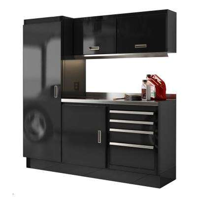 Select Series 75 in. H x 72 in. W x 22 in. D Aluminum Cabinet Set in Black with Stainless Steel Worktop (6-Piece)