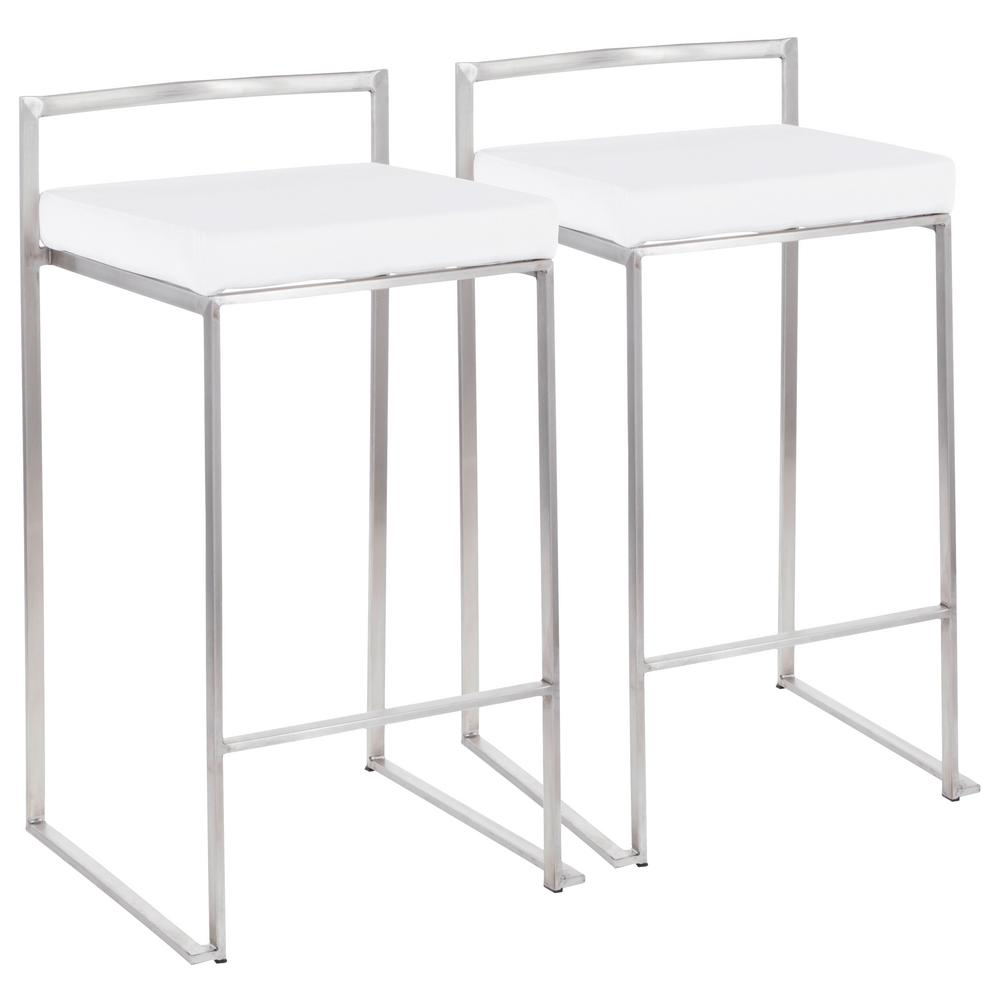 Fuji 26 in. Stainless Steel Stackable Counter Stool with White Velvet