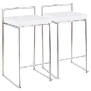 Superb Lumisource Fuji 26 In Stainless Steel Stackable Counter Gmtry Best Dining Table And Chair Ideas Images Gmtryco