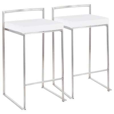 Fuji 26 in. Stainless Steel Stackable Counter Stool with White Velvet Cushion (Set of 2)