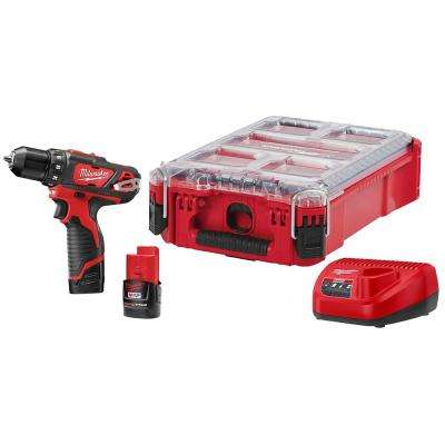 M12 12-Volt Lithium-Ion Cordless 3/8 in. Drill/Driver Kit with PACKOUT Case and Two 1.5 Ah Batteries, Charger