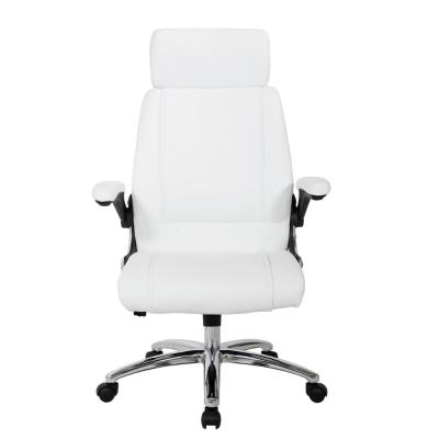Executive White Faux Leather Chair with Metal Chrome Base