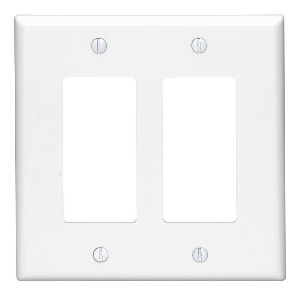 2-Gang Decora Midsize Wall Plate, White