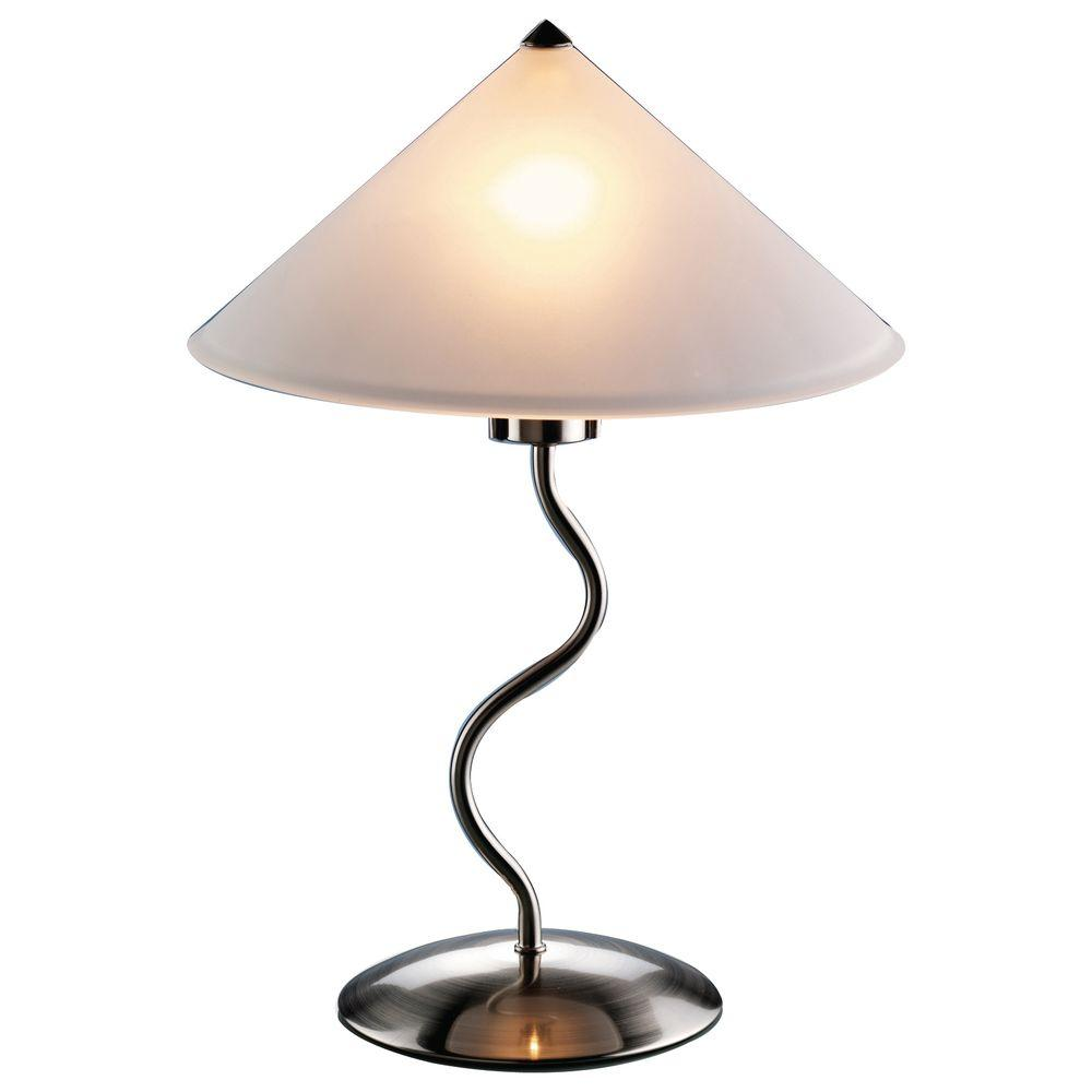 Lumisource 19 in. Brushed Metal Silver Indoor Touch Table Lamp with Frosted Glass