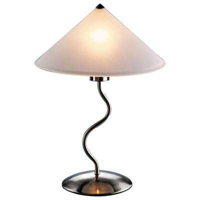 19 in. Brushed Metal Silver Indoor Touch Table Lamp with Frosted Glass