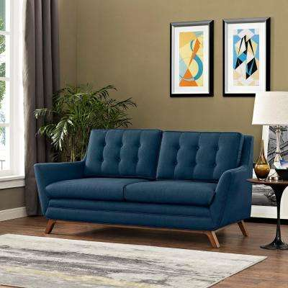 Beguile Azure Upholstered Fabric Loveseat